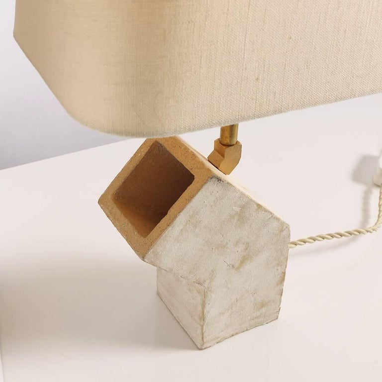 American 'Conduit' Brutalist White Ceramic and Brass Small Table Lamp For Sale
