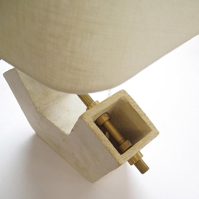 Contemporary 'Conduit Anchor' Brutalist White Ceramic and Brass Table Lamp For Sale