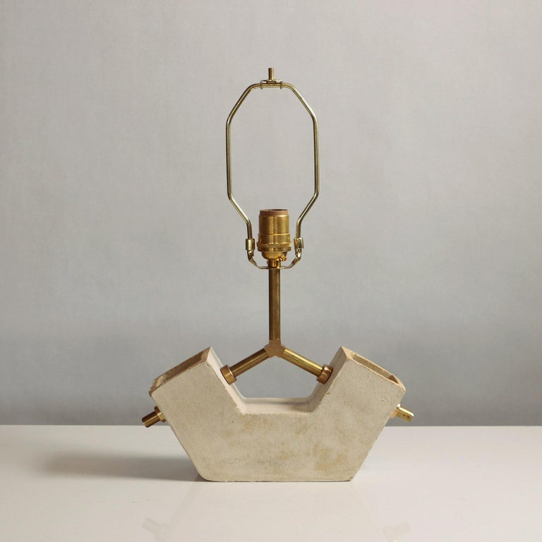 American 'Conduit Anchor' Brutalist White Ceramic and Brass Table Lamp For Sale