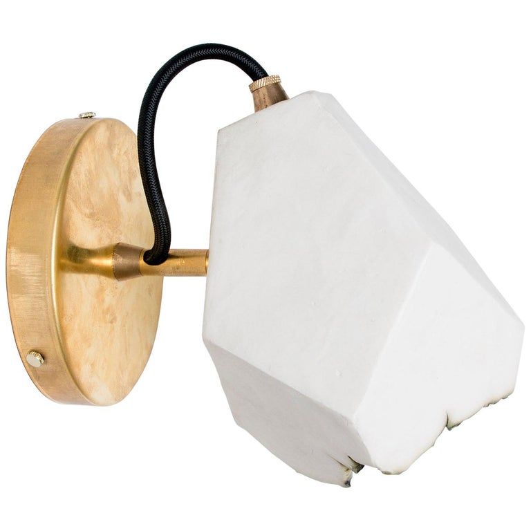 'Relic Spotlight' Geometric White and Brass Modern Sconce For Sale