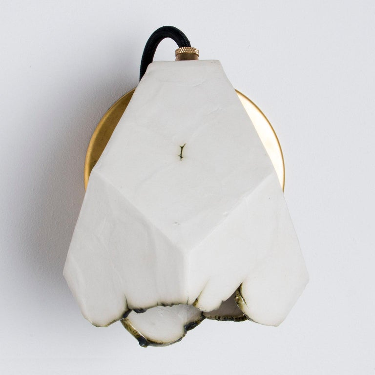 American 'Relic Spotlight' Geometric White and Brass Modern Sconce For Sale