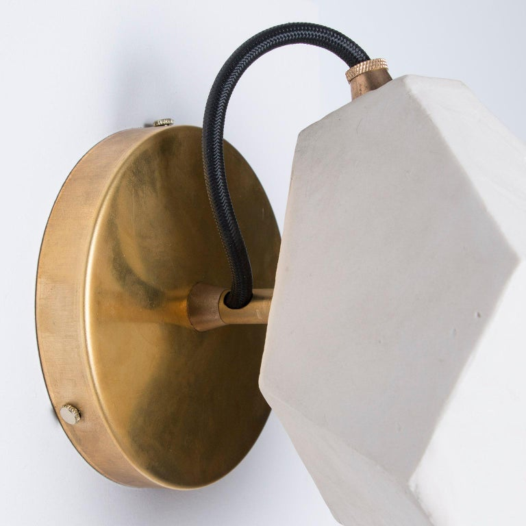 'Relic Spotlight' Geometric White and Brass Modern Sconce In New Condition For Sale In Bronx, NY
