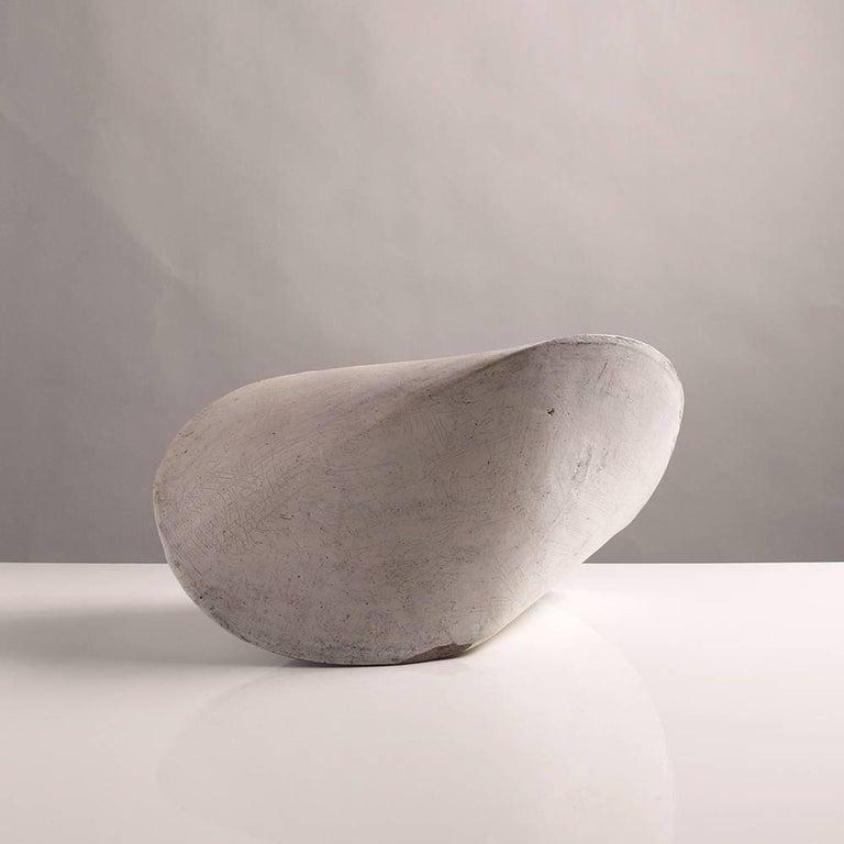 American Large White Crackle Finish Modern Ceramic Pod Sculpture For Sale
