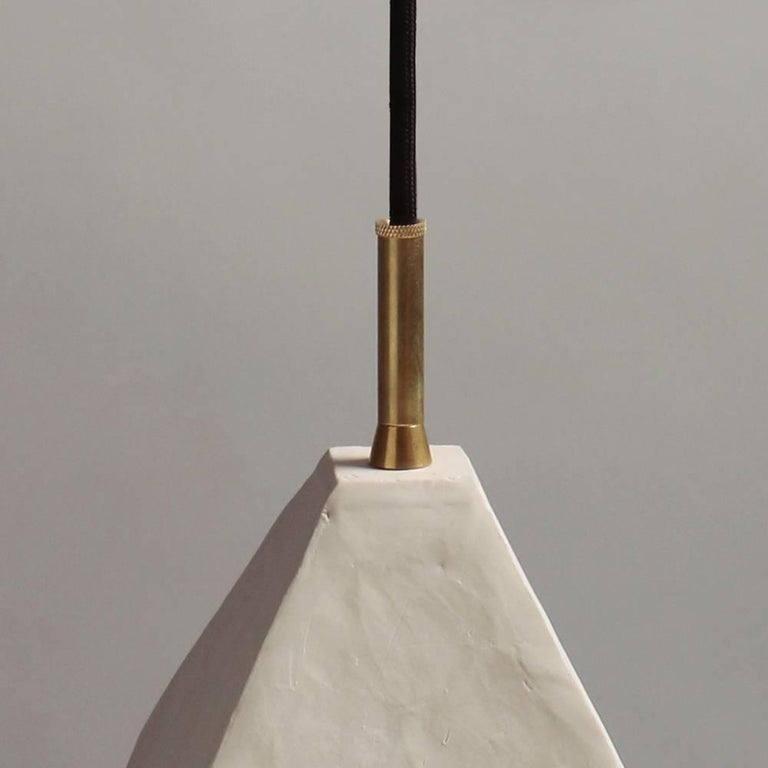 American Relic Large Geometric White Porcelain and Brass Modern Pendant Lamp For Sale