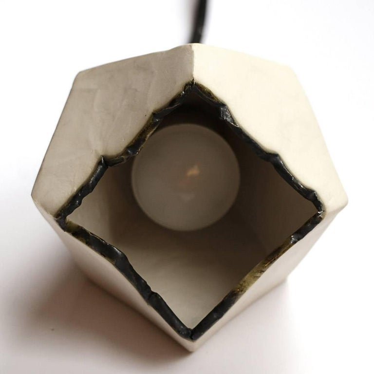 Relic Large Geometric White Porcelain and Brass Modern Pendant Lamp In New Condition For Sale In Bronx, NY