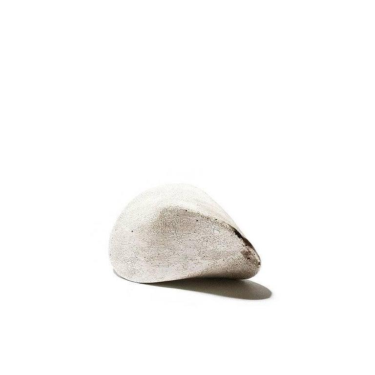 Small White Crackle Finish Modern Ceramic Pod Sculpture For Sale 1
