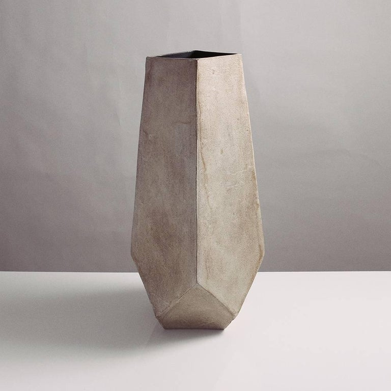 Facet Stony Gray And Black Tall Modern Geometric Ceramic Monument