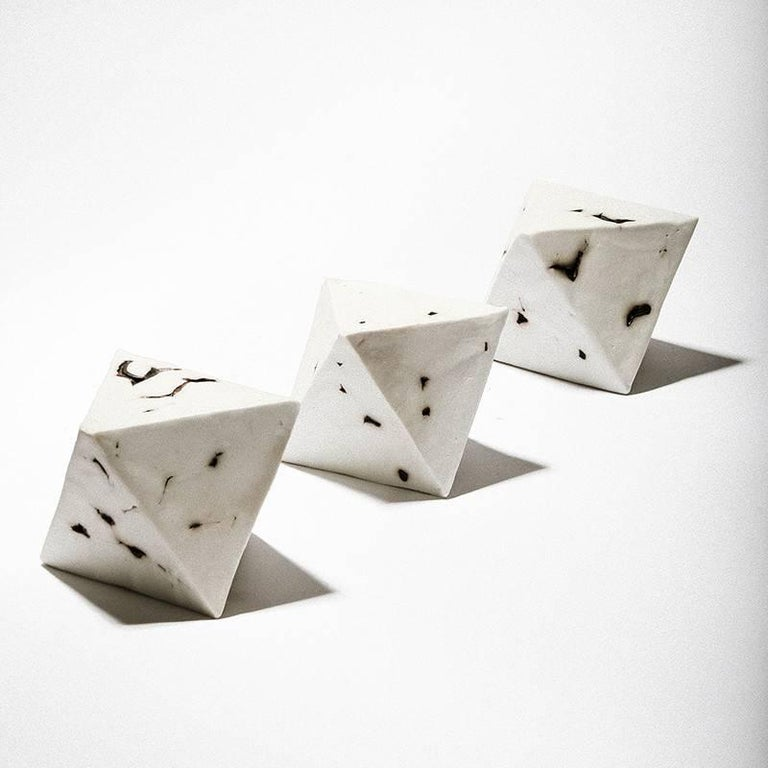 Modern Relic Octahedron, Geometric White Porcelain Ceramic Small Sculptural Object For Sale