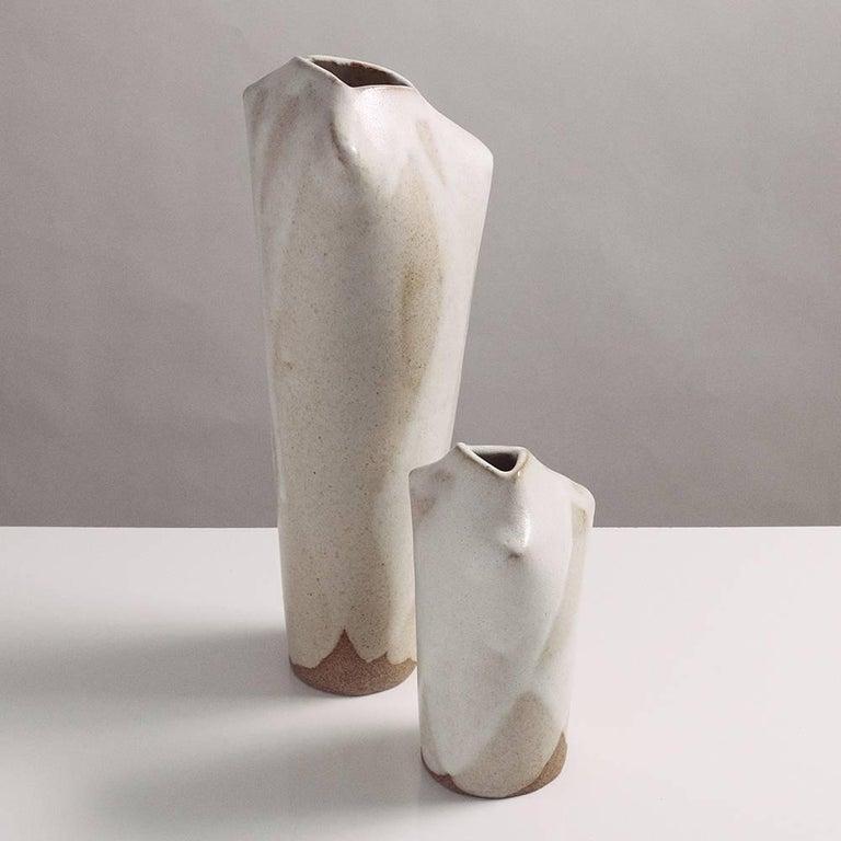 Handmade White Glazed Modern Ceramic Bone Vases Set Of Two For Sale
