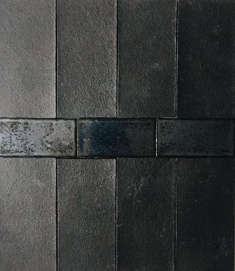 American 'Coal' Matte Black Handmade Ceramic Tile For Sale