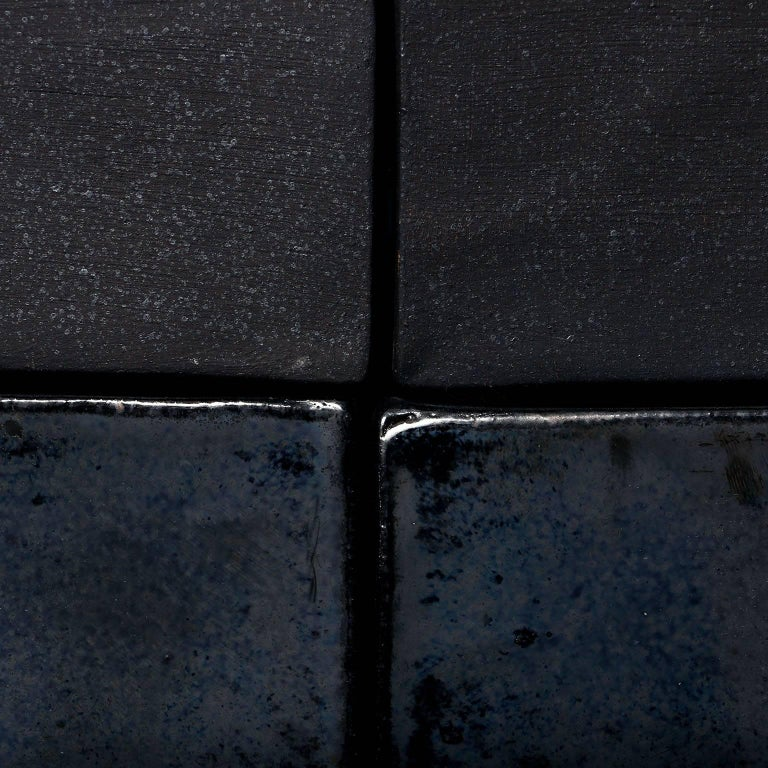 Iridescent Black Glazed Handmade Ceramic Tile For Sale At 1stdibs