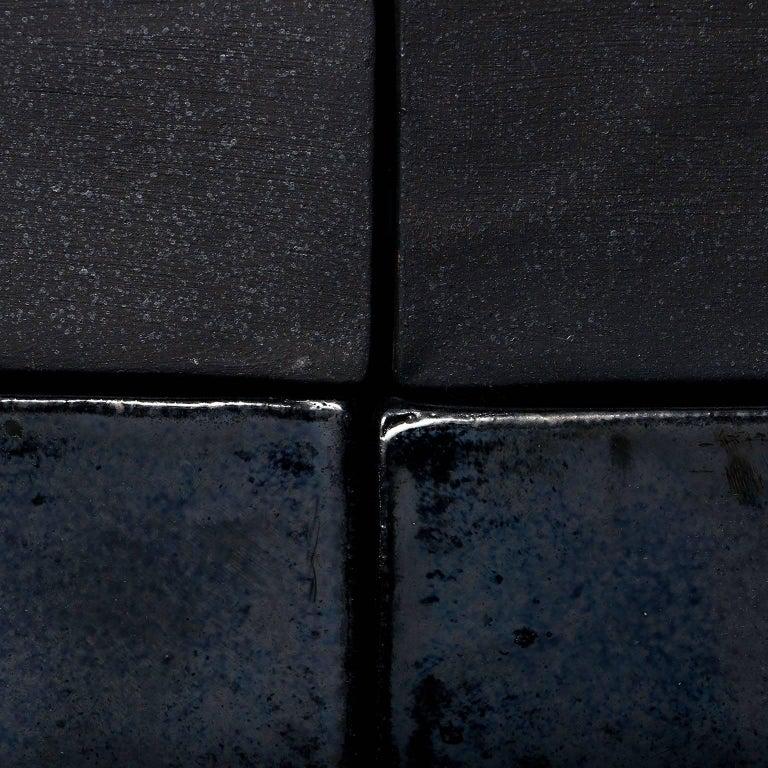 Iridescent Black Glazed Handmade Ceramic Tile For Sale