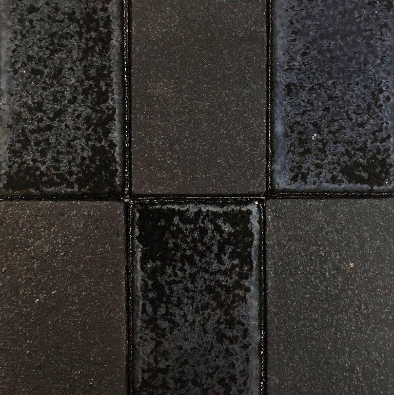 Modern 'Iridescent Black' Glazed Handmade Ceramic Tile For Sale