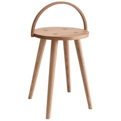 Single Bucket Stool, Seat Side Table with Bentwood Handle in Solid Ash