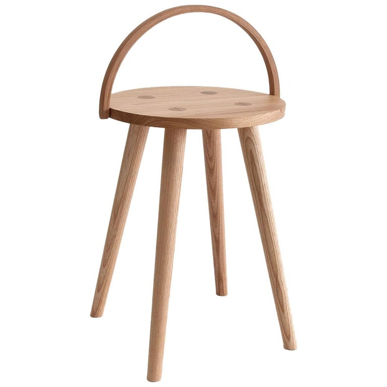 Single Bucket Stool, Seat Side Table with Bentwood Handle in Solid Ash For Sale