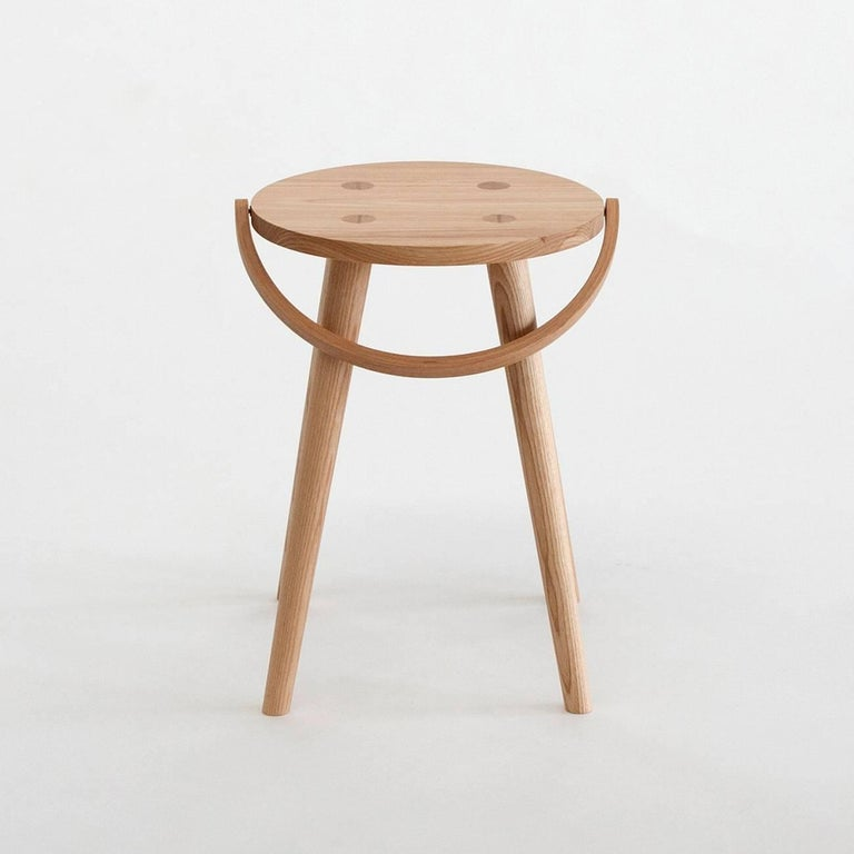 Modern Single Bucket Stool, Seat Side Table with Bentwood Handle in Solid Ash For Sale
