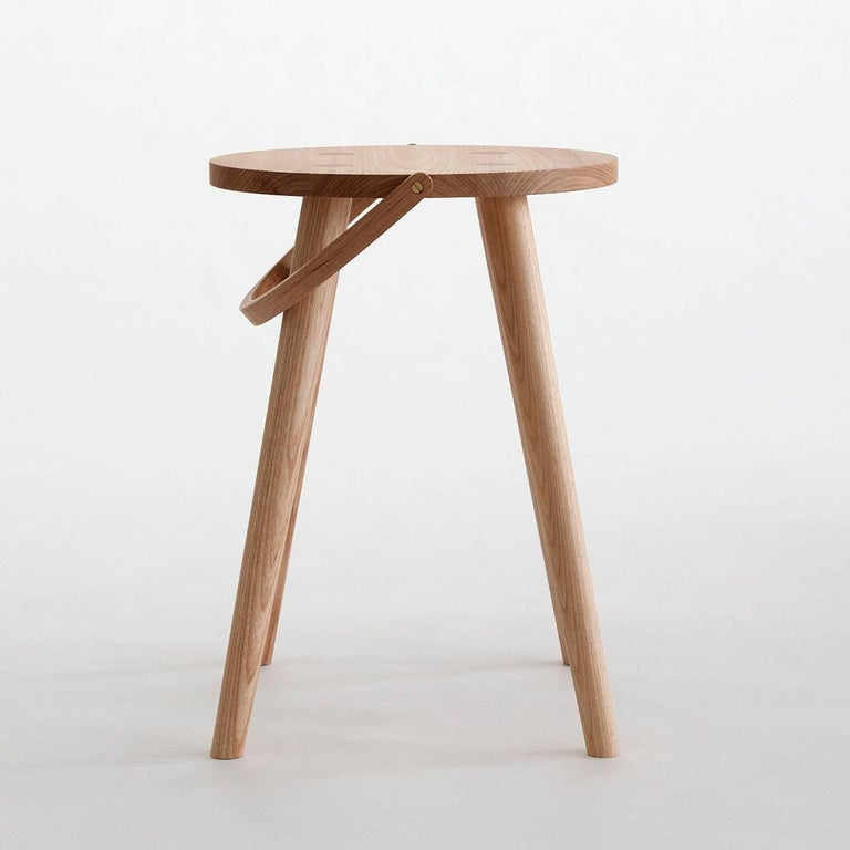Turned Single Bucket Stool, Seat Side Table with Bentwood Handle in Solid Ash For Sale
