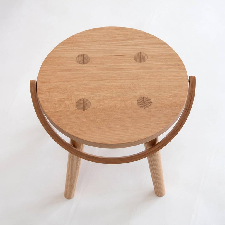 Single Bucket Stool, Seat Side Table with Bentwood Handle in Solid Ash In New Condition For Sale In Oakland, CA