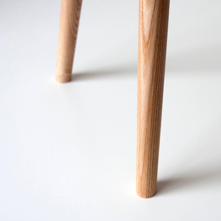 Contemporary Single Bucket Stool, Seat Side Table with Bentwood Handle in Solid Ash For Sale