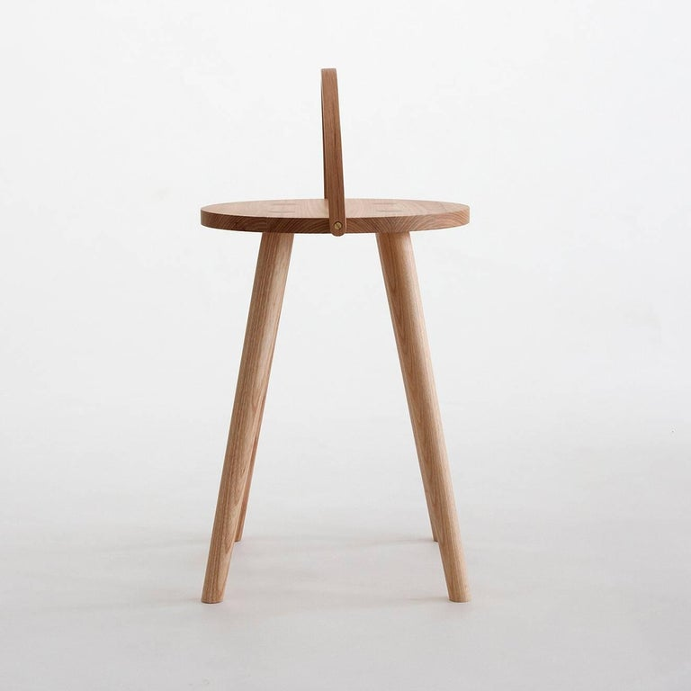 American Single Bucket Stool, Seat, Side Table with Bentwood Handle in Solid Ash For Sale