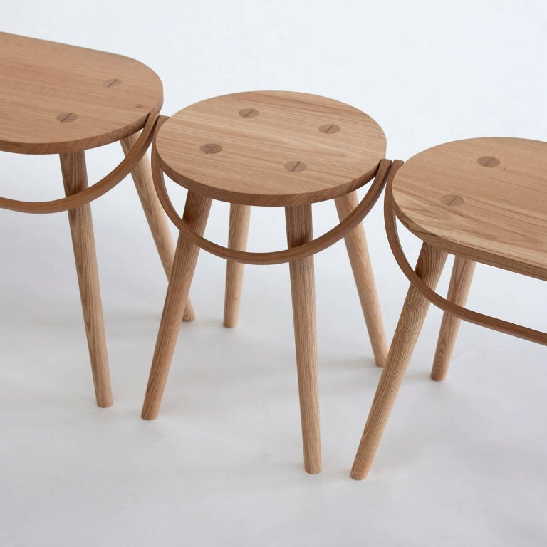 Single Bucket Stool, Seat, Side Table with Bentwood Handle in Solid Ash For Sale 3