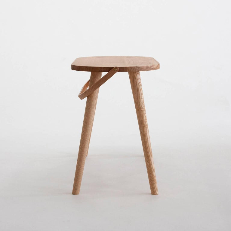 Modern Double Bucket Stool, Wide Side Table or Seat with Bentwood Handle in Solid Ash For Sale