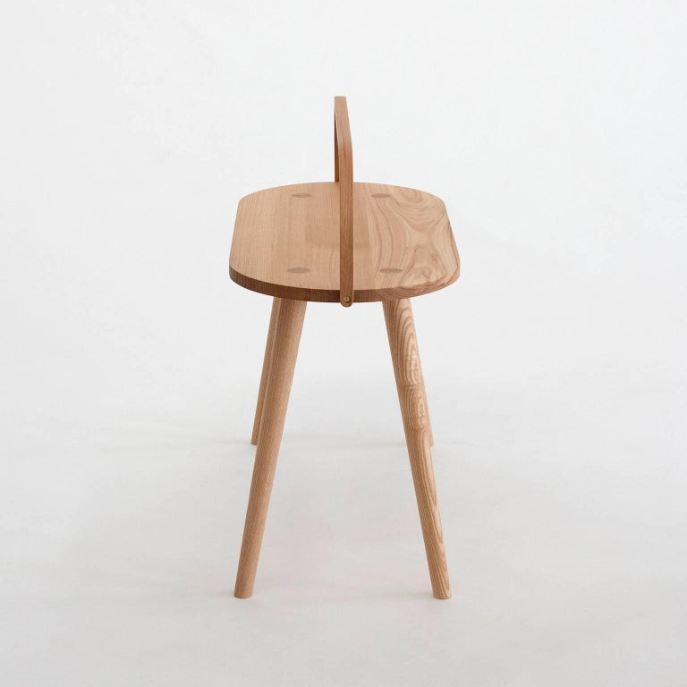 Turned Double Bucket Stool, Wide Side Table or Seat with Bentwood Handle in Solid Ash For Sale