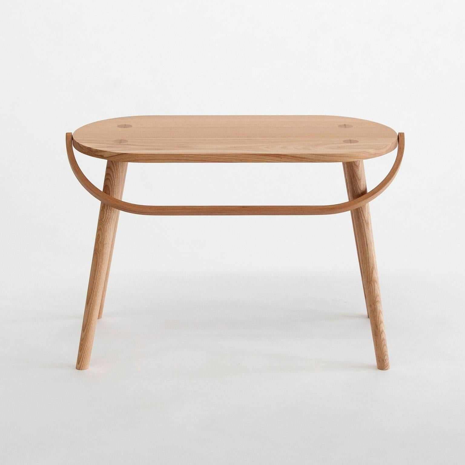 Double Bucket Stool, Wide Side Table Or Seat With Bentwood Handle In Solid  Ash In