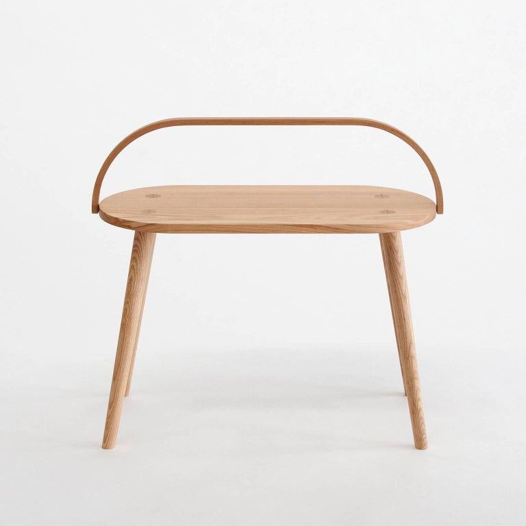Contemporary Double Bucket Stool, Wide Side Table or Seat with Bentwood Handle in Solid Ash For Sale