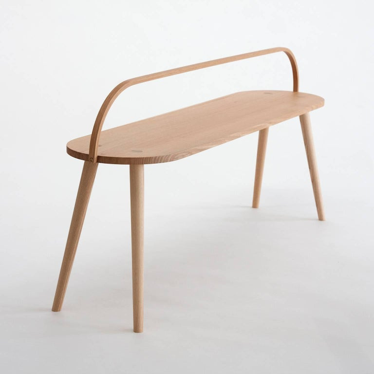 Bucket Bench, Modern Long Side Table or Seat with Bentwood Handle in Solid Ash In Excellent Condition For Sale In San Francisco, CA