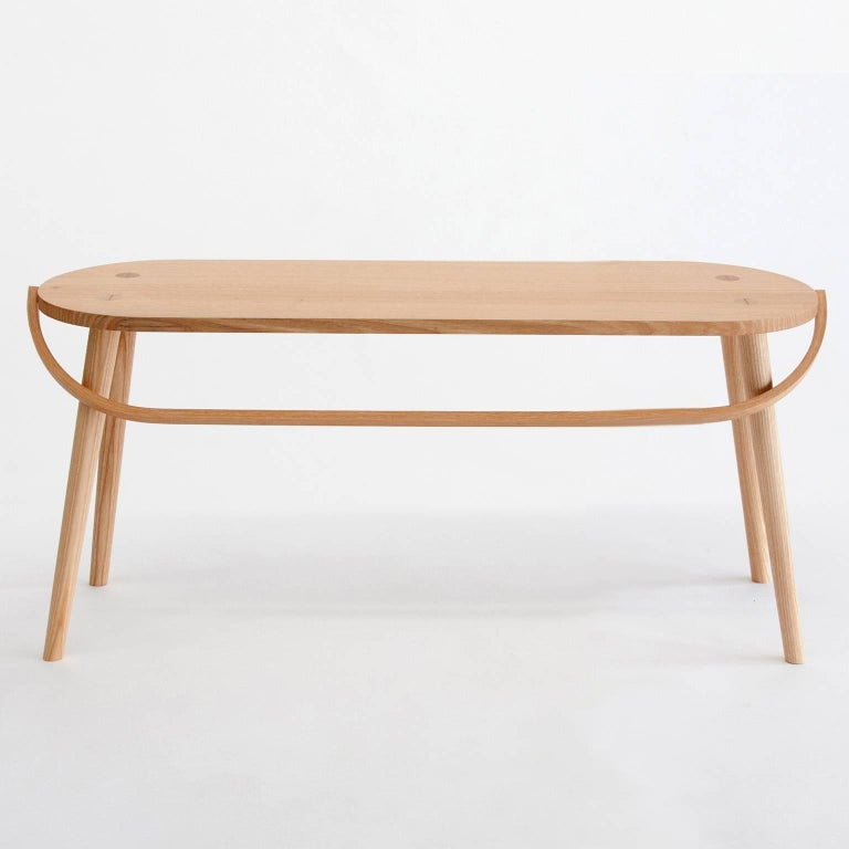 American Bucket Bench, Modern Long Side Table or Seat with Bentwood Handle in Solid Ash For Sale