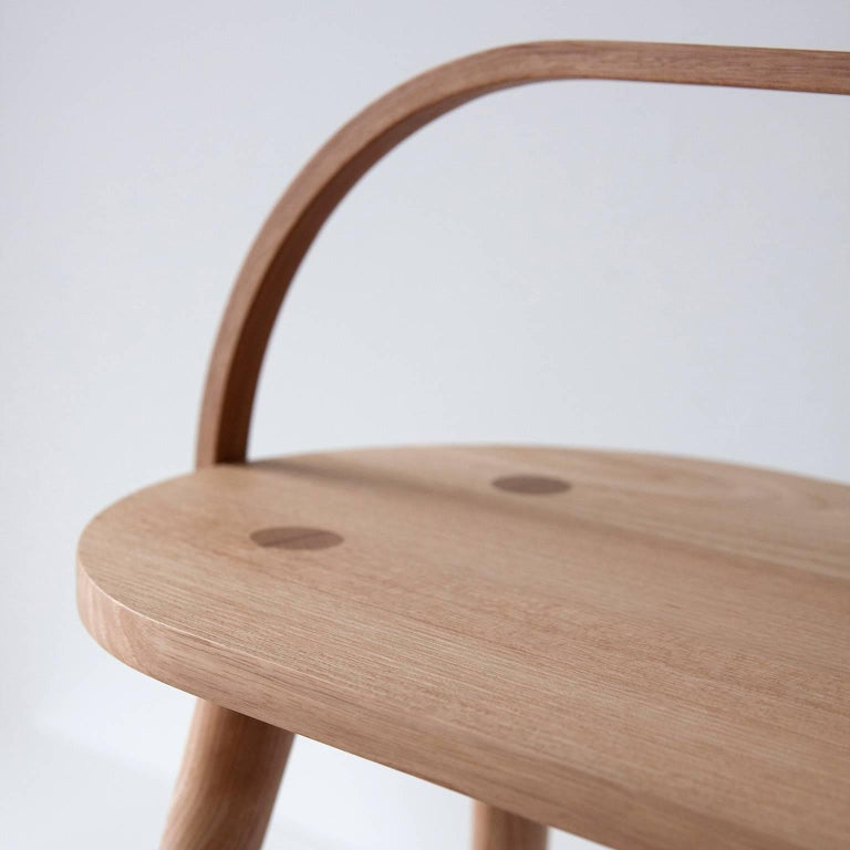 Turned Bucket Bench, Modern Long Side Table or Seat with Bentwood Handle in Solid Ash For Sale