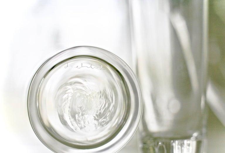 American Set of 6 Deborah Ehrlich Simple Crystal White Wine Glasses Handblown in Sweden For Sale