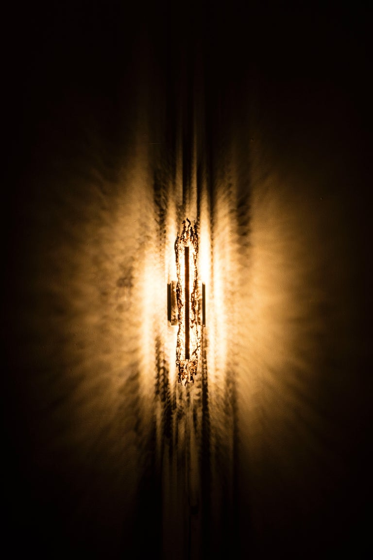 Modern Burnt Copper Form Sconce, Open Narrow Form, Wall Sculpture For Sale