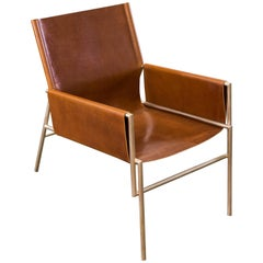 Lincoln Lounge Chair in Satin Bronze and Full Grain Leather