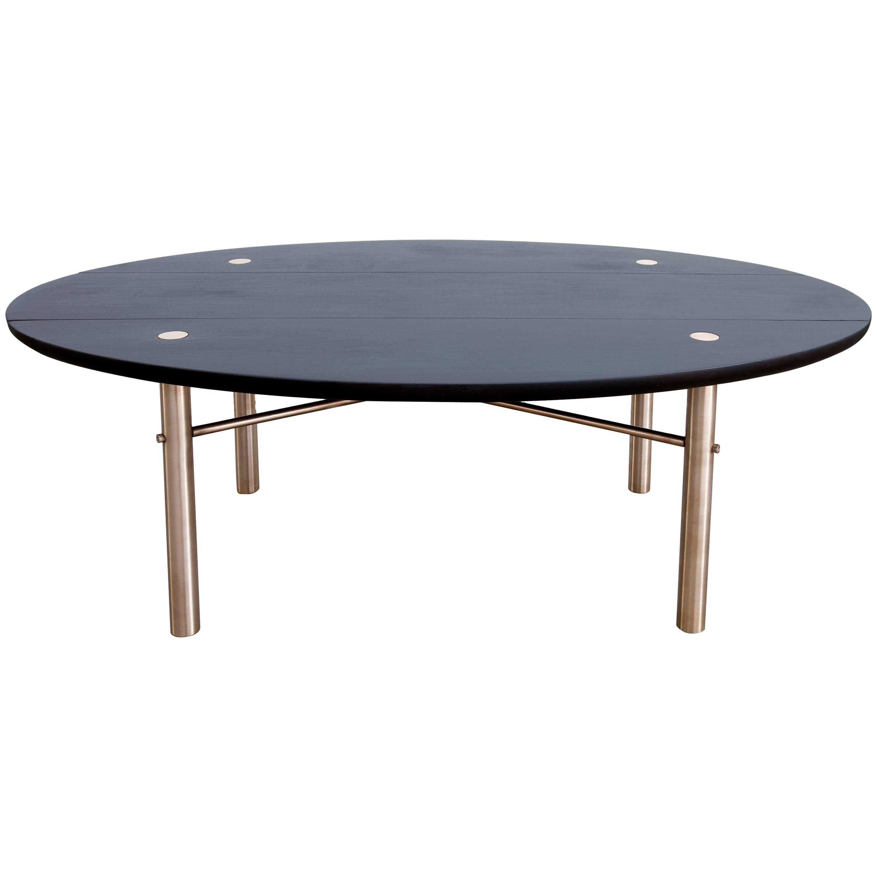Connect Low Table in Customizable Charred Hardwood Maple and Patinated Bronze