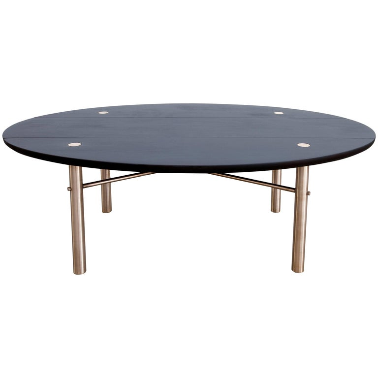 Connect Low Table in Customizable Charred Hardwood Maple and Patinated Bronze For Sale