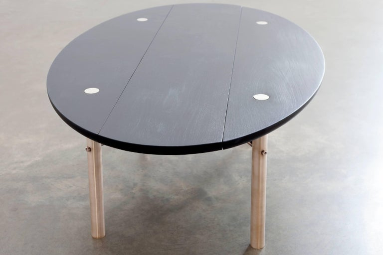 Canadian Connect Low Table in Customizable Charred Hardwood Maple and Patinated Bronze For Sale