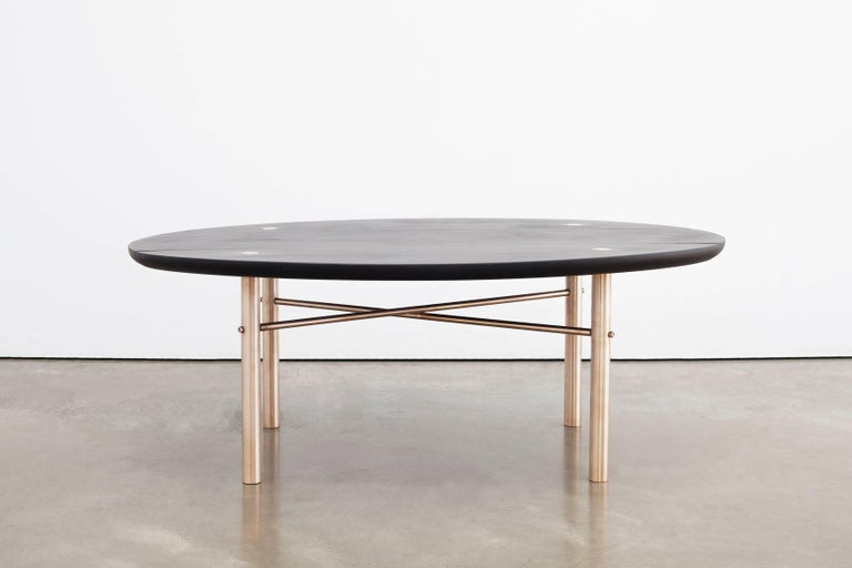 Connect Low Table in Customizable Charred Hardwood Maple and Patinated Bronze In New Condition For Sale In Vancouver, BC