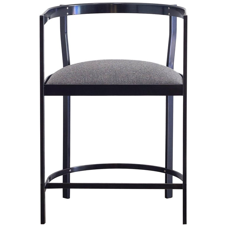 Connect Upholstered Dining Chair in Hand Blackened Aluminium and Lacquer
