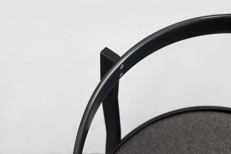 Canadian Connect Upholstered Dining Chair in Hand Blackened Aluminium and Lacquer For Sale