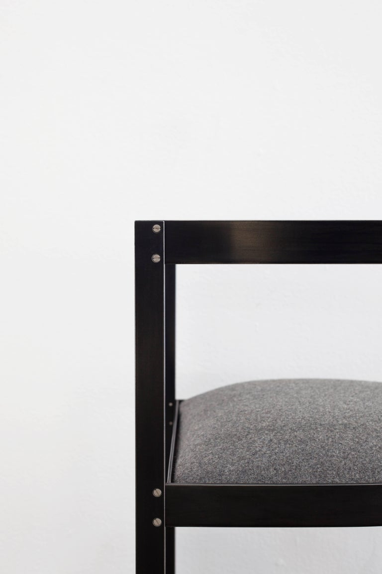 Connect Upholstered Dining Chair in Hand Blackened Aluminium and Lacquer In New Condition For Sale In Vancouver, BC