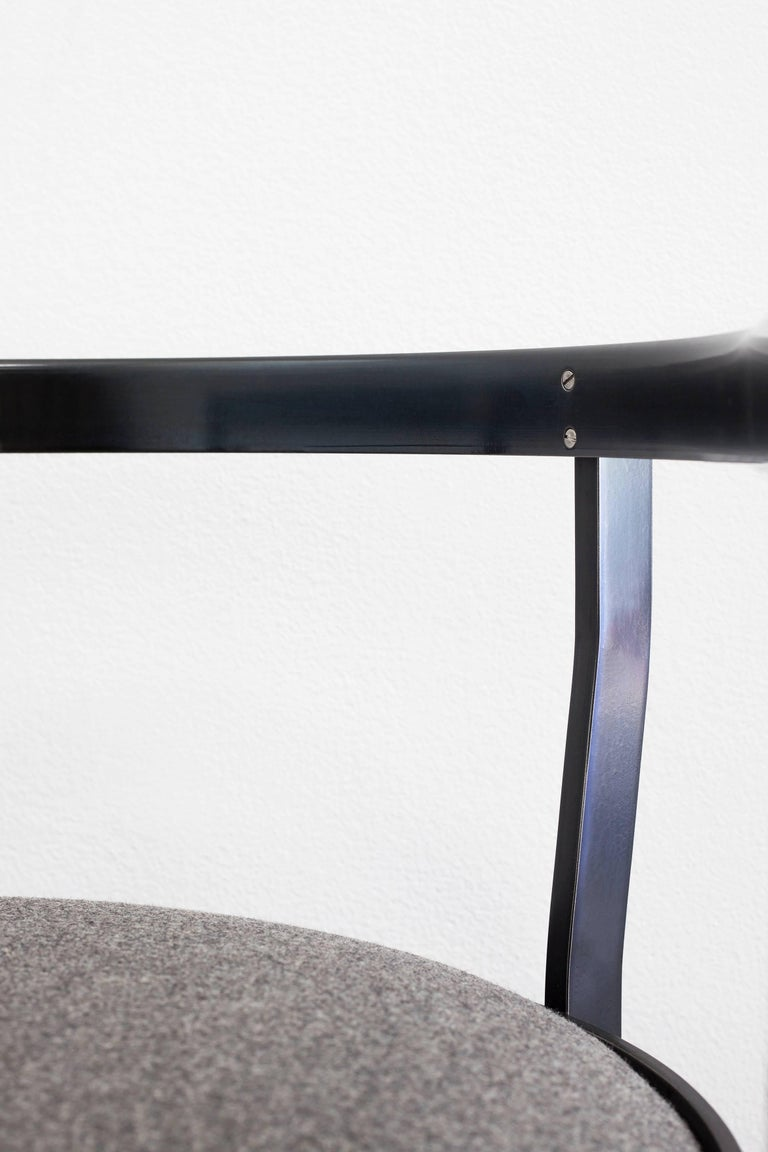 Contemporary Connect Upholstered Dining Chair in Hand Blackened Aluminium and Lacquer For Sale