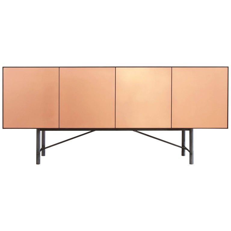 Connect Credenza Cabinet or Sideboard in Customizable Steel Plate Satin Copper For Sale