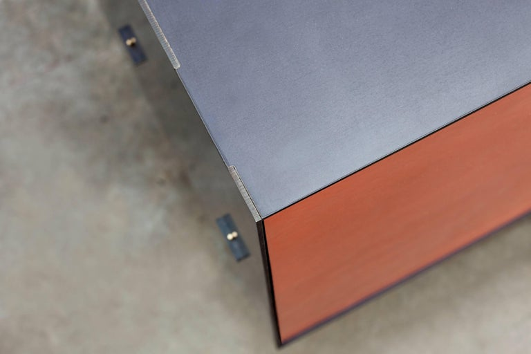 Modern Connect Credenza Cabinet or Sideboard in Customizable Steel Plate Satin Copper For Sale