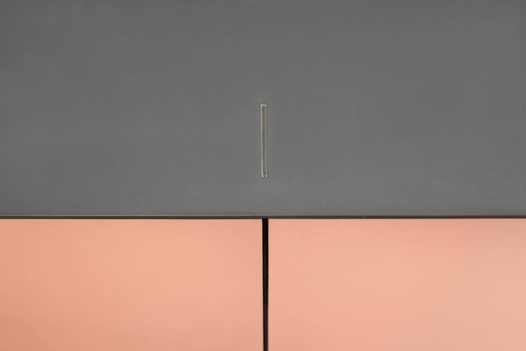 Canadian Connect Credenza Cabinet or Sideboard in Customizable Steel Plate Satin Copper For Sale