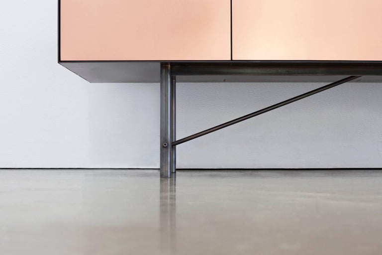 Connect Credenza Cabinet or Sideboard in Customizable Steel Plate Satin Copper In New Condition For Sale In Vancouver, BC