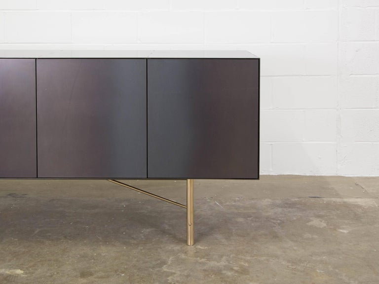 Modern Connect Credenza Cabinet or Sideboard Customizable in Steel and Polished Bronze For Sale