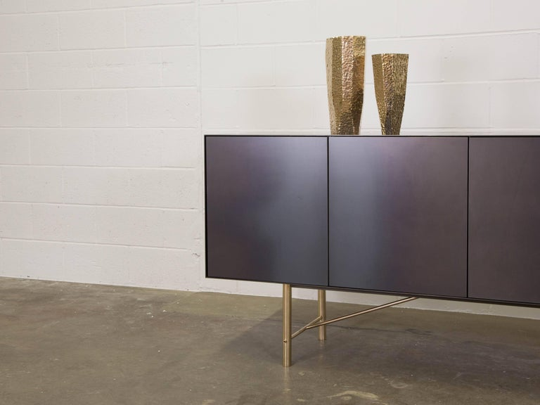 Canadian Connect Credenza Cabinet or Sideboard Customizable in Steel and Polished Bronze For Sale
