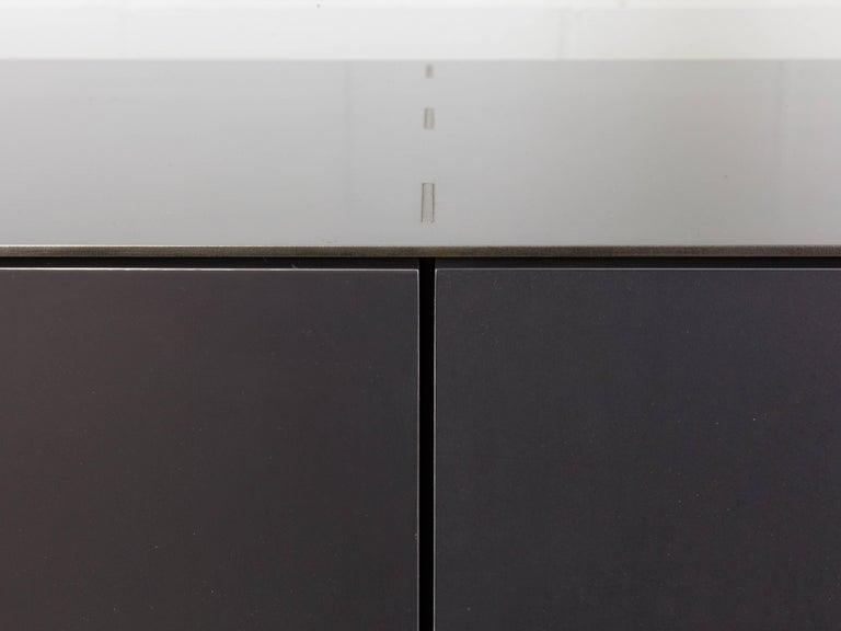 Blackened Connect Credenza Cabinet or Sideboard Customizable in Steel and Polished Bronze For Sale